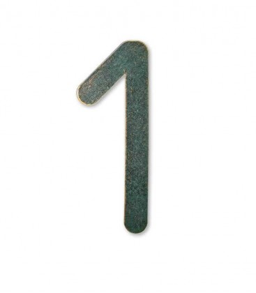 Stainless house number MAX 1, green-gold