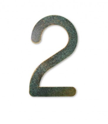 Stainless house number MAX 2, green-gold