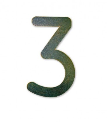 Stainless house number MAX 3, green-gold