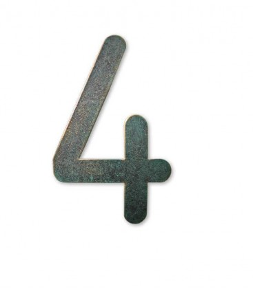 Stainless house number MAX 4, green-gold