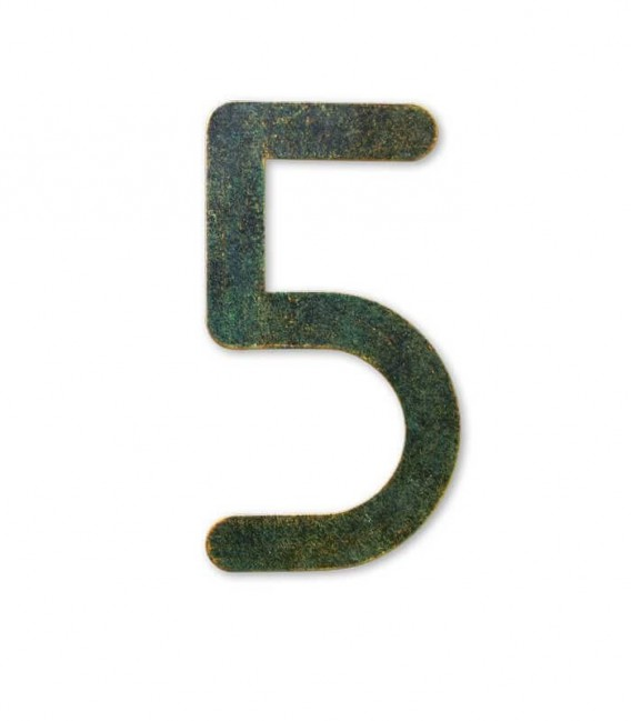 Stainless house number MAX 5, green-gold