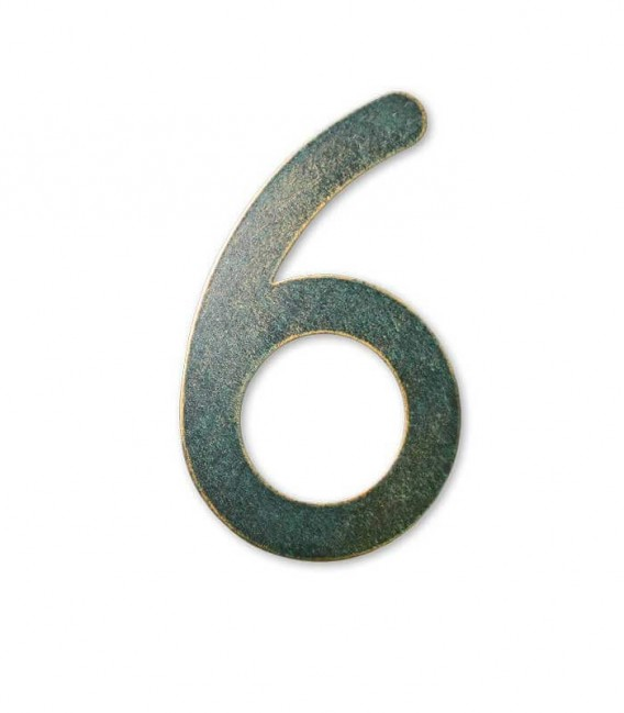 Stainless house number MAX 6, green-gold