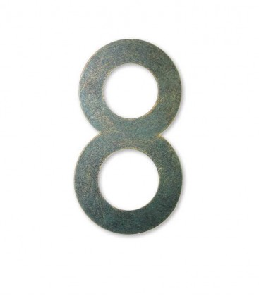 Stainless house number MAX 8, green-gold