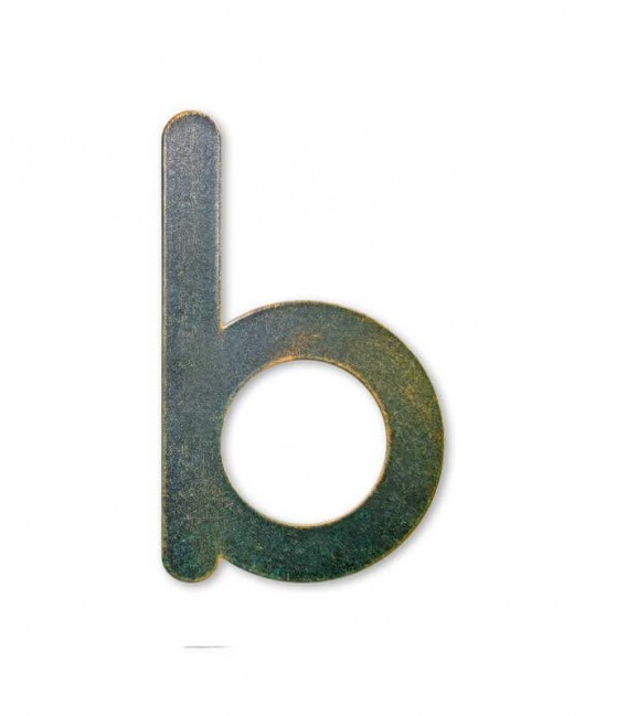 Stainless house number MAX letter b, green-gold