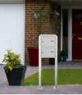Free standing multiple mailbox, white, 2 vertical boxes