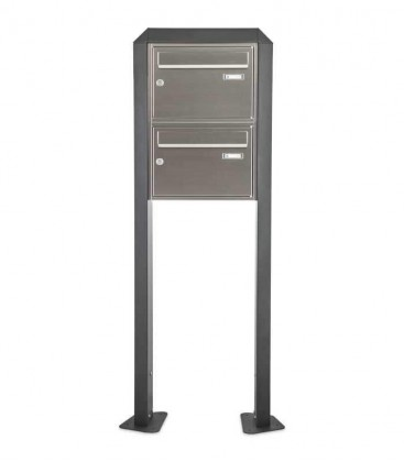 Free standing multiple mailbox, stainless steel, 2 vertical boxes