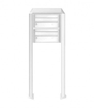 Free standing multiple mailbox, white, 2 horizontal boxes