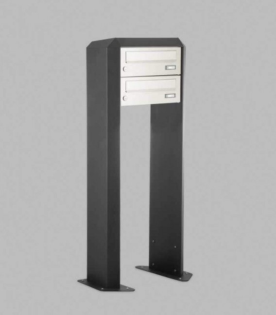 Free standing multiple mailbox, stainless steel, 2 horizontal boxes