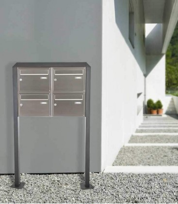 Free standing multiple mailbox, stainless steel, 4 vertical boxes