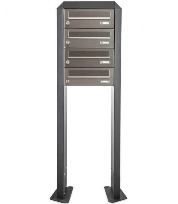 Free standing multiple mailbox, stainless steel, 4 horizontal boxes