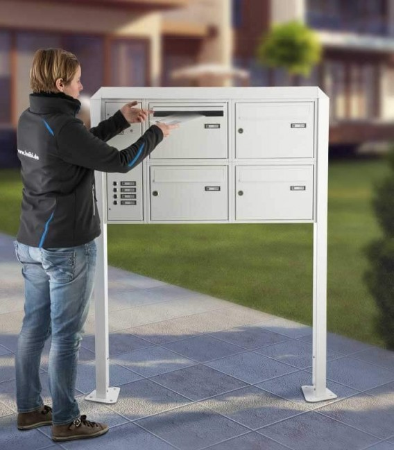 Free standing multiple mailbox with installation box, white, 4 vertical boxes