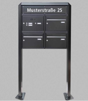 Free standing multiple mailbox with installation box, street name, black, 3 vertical boxes