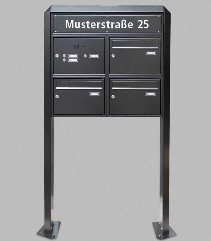 freestanding mailbox bank 3 units black with bell. Black Bedroom Furniture Sets. Home Design Ideas