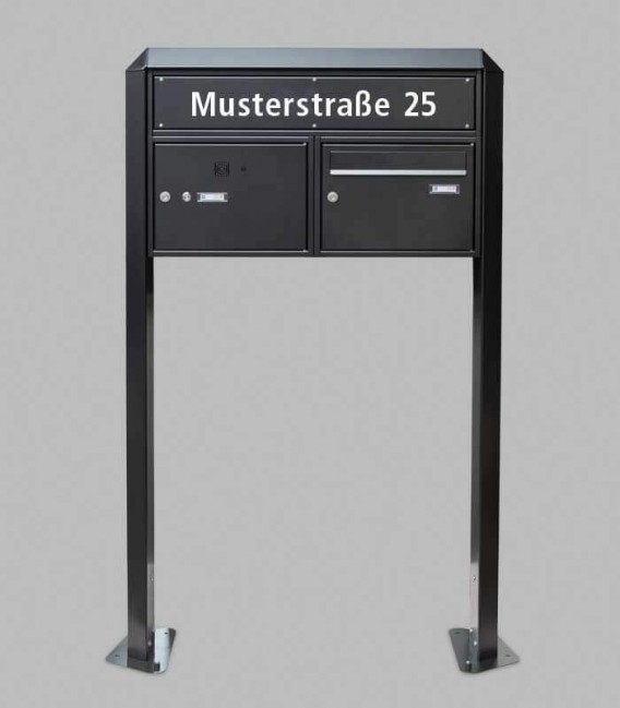 Free standing multiple mailbox with installation box, street name, black, 1 vertical boxes