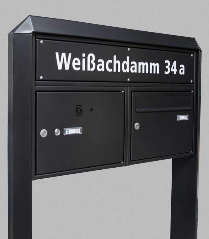 briefkastenanlage 1er freistehend schwarz mit klingel. Black Bedroom Furniture Sets. Home Design Ideas
