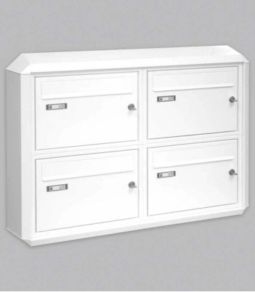 Wall mounted multiple mailbox, white, 4 vertical boxes
