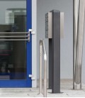 Free standing multiple mailbox, stainless steel, 6 horizontal boxes