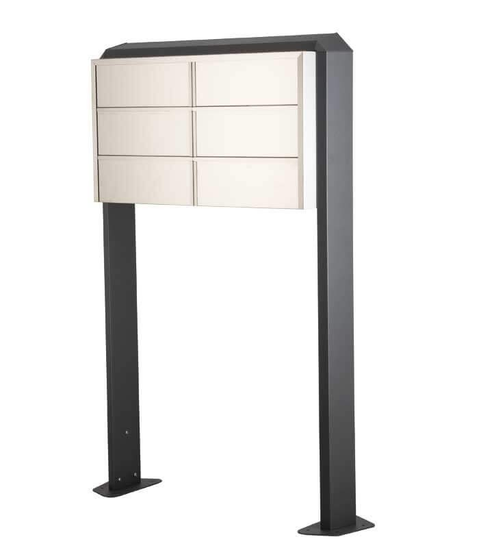 Freestanding Mailbox Bank 6 Units 183 Stainless Steel Front