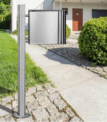Letterbox CULTINO-STAND with newspaper compartment, stainless steel