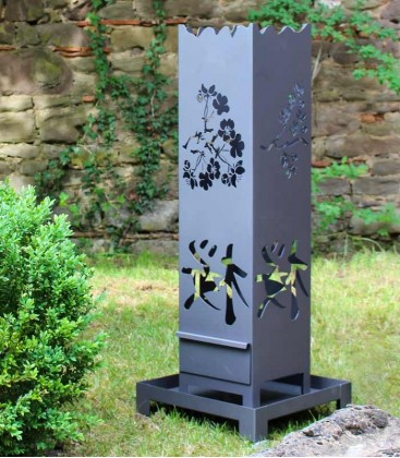 Steel Fire Pit  with japan motif