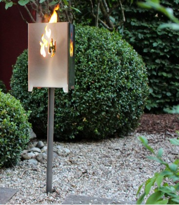 Garden Torch with FLAME Design incl. Spike, Stainless Steel