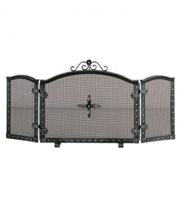 3 fold fire screen, black antique
