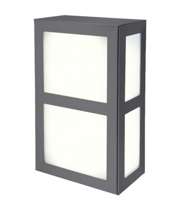 Square outdoor wall light with border, anthracite