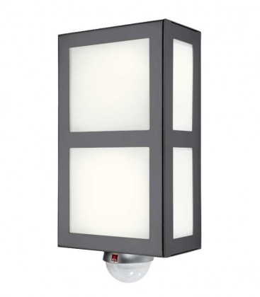 Square outdoor wall light with border & sensor, anthracite