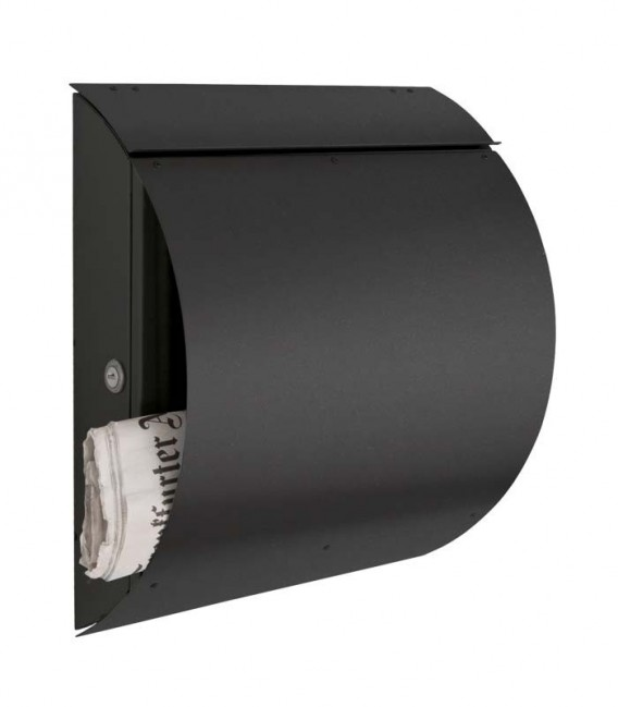 Arched letterbox with newspaper compartment, graphite