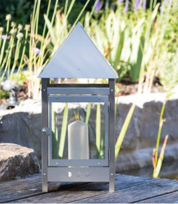 Decorative Candle Lantern 50 cm, stainless steel