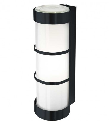 Cylinder outdoor wall light with border, grey ral 7016