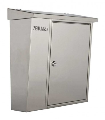 Letter box with newspaper compartment, stainless steel