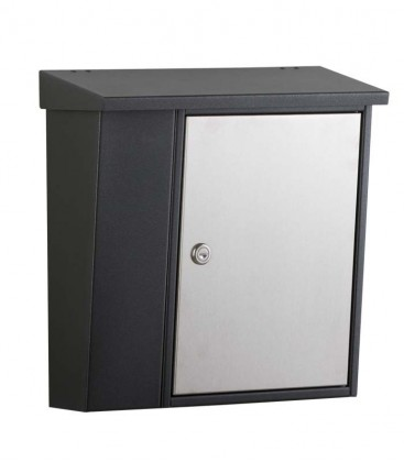Letterbox with newspaper compartment, graphite with stainless steel door