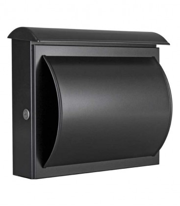 Letterbox QUELO with newspaper compartment, black-mica