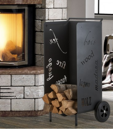 Mobile firewood trolley graphite, H 97 cm