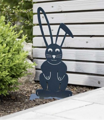 Garden Figure EASTER BUNNY, grey