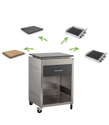Drawer module with 1 drawer, stainless steel